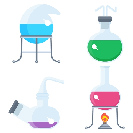 flack: Set of chemilal equipment. Test tube and flack, chemical burner, laboratory, liquid. Flat vector cartoon chemical illustration. Objects isolated on a white background.
