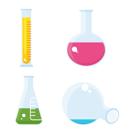 bunsen burner: Set of chemilal equipment. Test tube and flack, chemical burner, laboratory, liquid. Flat vector cartoon chemical illustration. Objects isolated on a white background.