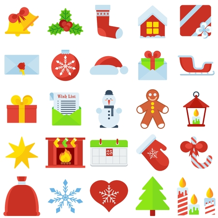 Set of christmas icons. Flat vector cartoon christmas illustration. Objects isolated on a white background.