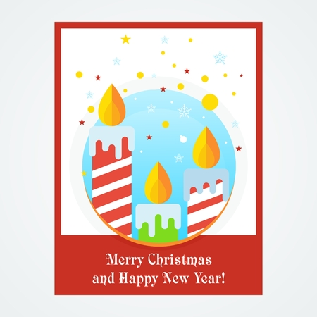 Christmas card with candle. Flat vector cartoon christmas card illustration. Objects isolated on a white background.