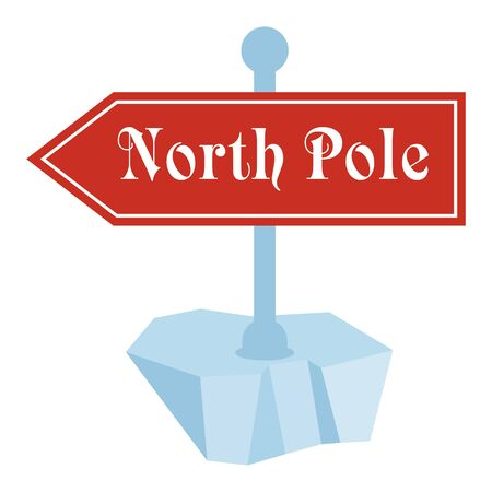 north pole travel sign flat vector cartoon christmas card illustration objects isolated on a - How To Sign A Christmas Card
