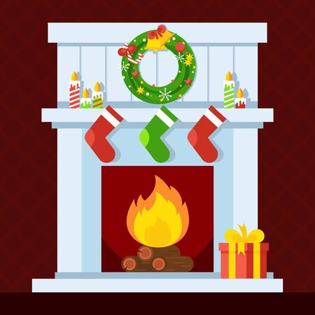 christmas fire: Christmas fireplace. Xmas and fire, home decoration, interior for celebration. Flat vector cartoon illustration. Objects isolated on a white background.