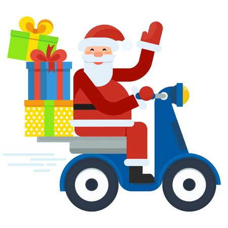 Modern Santa Claus delivers gifts on scooter. Christmas card with santa. Template greeting card for Christmas. Flat vector cartoon christmas card illustration.