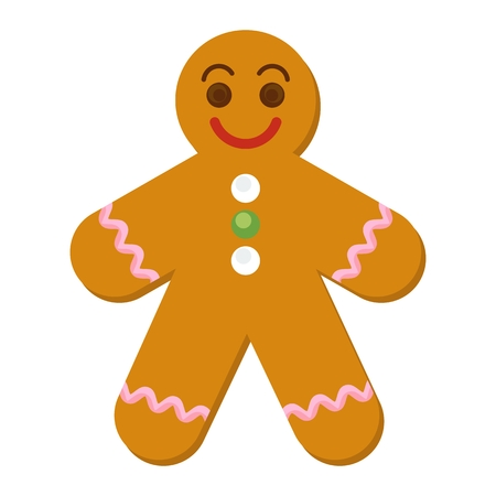 gingerbread cake: Gingerbread Man Cookie. Flat vector cartoon Christmas greetings illustration. Objects isolated on a white background. Illustration