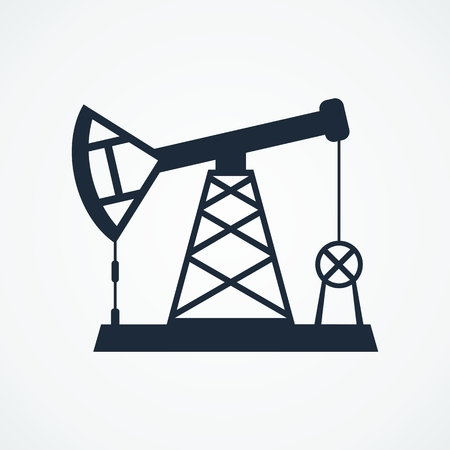 Oil derrick black icons. Flat vector cartoon Oil derrick illustration. Objects isolated on a white background. Illustration