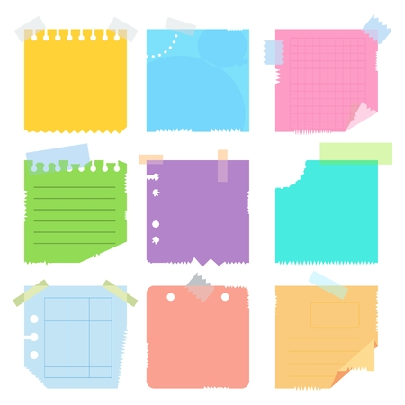 curled corner: Collection of various crumpled note papers with curled corner and adhesive tape, ready for your message. Flat vector cartoon note papers illustration. Objects isolated on white background.