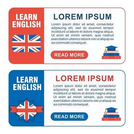 educational materials: Set of learn english baners. Concept of learning a foreign language. Making educational materials, books and websites. Flat vector cartoon english illustration. Objects isolated on a white background.