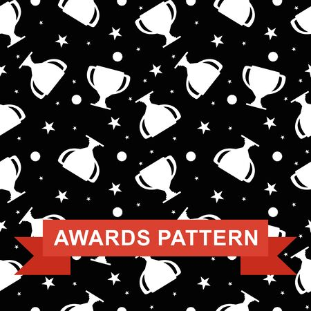 palm wreath: Seamless pattern with winner cup, medal and star. Design for advertising, banners, background for social media. Flat vector awards seamless pattern. Objects isolated on a white background.