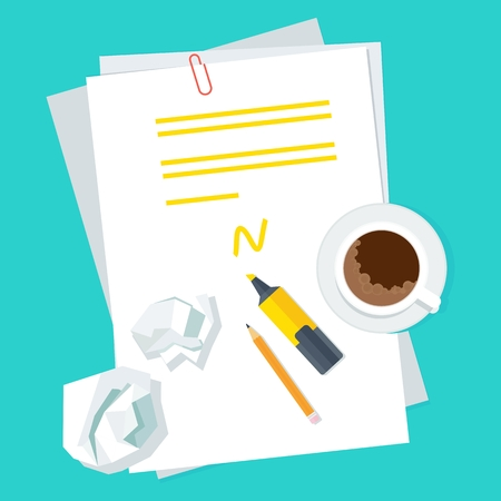 Workplace writer notes on a sheet of paper. The draft with notes and corrections. Top view desktop. Flat vector cartoon writer illustration. Objects isolated on blue background.