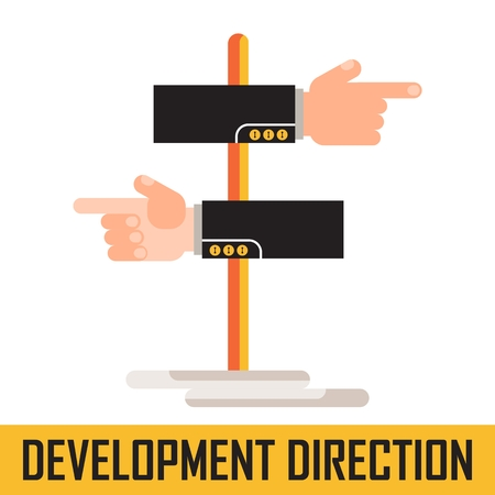 flechas direccion: Hand indicating the direction. Business concept development trends in business. Flat vector cartoon direction illustration. Objects isolated on a white background. Vectores