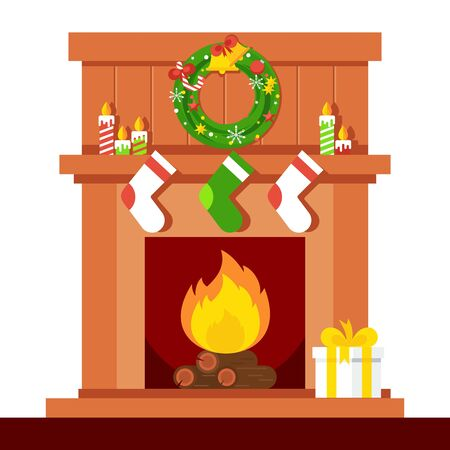 christmas fire: Christmas fireplace. Xmas and fire, home decoration, interior for celebration. Flat  cartoon illustration. Objects isolated on a white