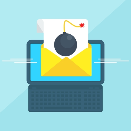 email bomb: Laptop with envelope and document on screen. Bomb in message. E-mail, email marketing, internet advertising concepts. Flat vector cartoon illustration. Objects isolated on a white background.