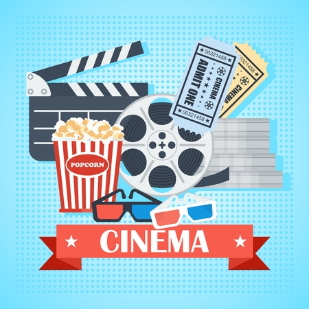 Cinema concept poster template with popcorn bowl, film strip and tickets, realistic detailed vector illustration Illustration