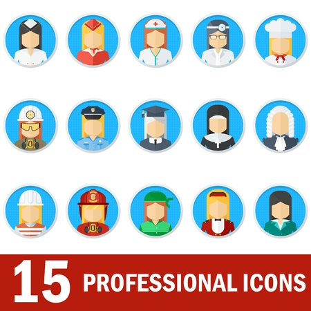female judge: Icons female professions. Business man, industry and services, law-enforcement and judge, chef and fireman. Templates without emotion for infographic, sites. banners, social media. Flat vector icons. Illustration