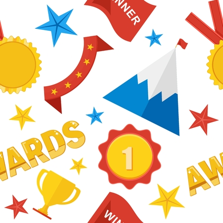laurel mountain: Seamless pattern of trophy sports awards in flat design style. Sports and business awards vector. Victory prize cup achievement and champion win competition. Objects isolated on white background.
