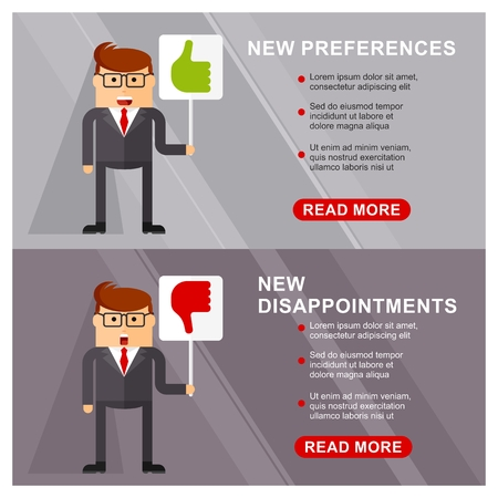 preferences: Business people banner. New preferences, new disappointments. Marketing strategy and the concept of enterprise development. Flat vector cartoon illustration. Objects isolated on a white background. Illustration