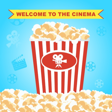 Cinema concept with popcorn. Flat vector cartoon cinema illustration. Objects isolated on a white background.