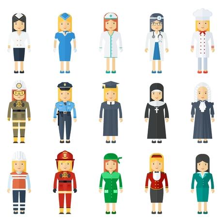 Profession de femme pleine longueur avec un sympathique visages heureux Modèles pour infographie, sites. bannières, réseaux sociaux. Icônes vectorielles plat sur fond blanc.