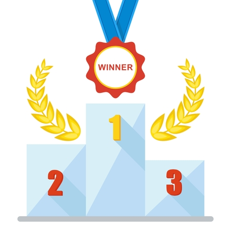 Victory Podium with first, second and third place. Conceptual image competition winner. Cup medal. Laurel wreath. Cartoon flat vector illustration. Objects isolated on a background. Illustration