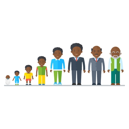 african american male: Aging concept of African American male characters. Family dynasty. The genealogy of ancestors to descendants. Flat vector cartoon cycle of life illustration. Objects isolated on a white background.