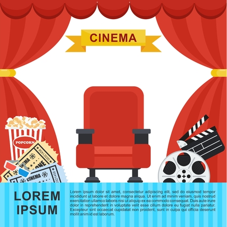 Auditorium and red comfortable armchair in the cinema. Drinks and popcorn, glasses for movie Flat vector cartoon Cinema seats illustration. Objects isolated on a white background.
