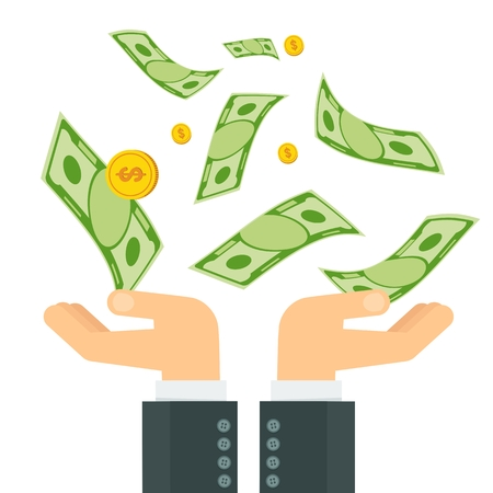 holding notes: Hand holding money. Businessman hands catch notes and coins fall from sky. Symbol of success and good luck. Bank and Finance. Flat vector cartoon illustration. Objects isolated on white background. Illustration
