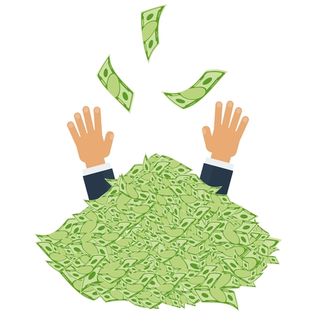 money pile: Hands catching money. Pile of money. Symbol of wealth, success and good luck. Banking and Finance. Flat vector cartoon illustration. Objects isolated on a white background.