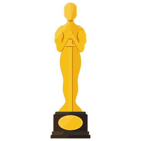 statuette: Statuette Award Festival Oscar on red carpet of honor. Movie Theater, Cinematic Award, Movie Premiere. Flat vector cartoon illustration. Objects isolated on a white background.