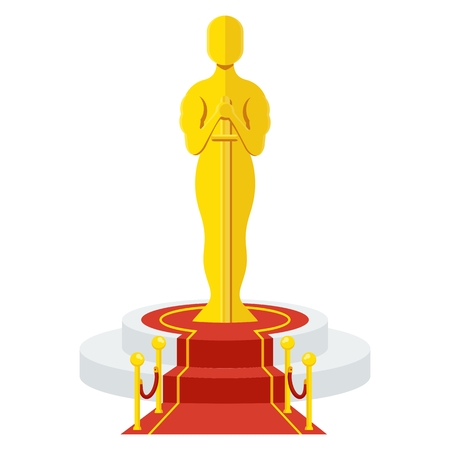 Statuette Award Festival Oscar on red carpet of honor. Movie Theater, Cinematic Award, Movie Premiere. Flat vector cartoon illustration. Objects isolated on a white background.