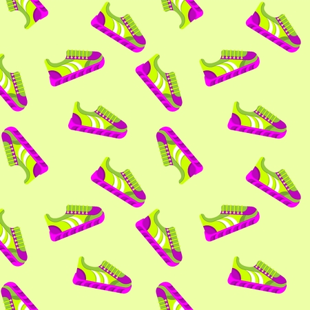 Seamless pattern sneackers. Flat vector cartoon illustration. Objects isolated on a white background. Illustration