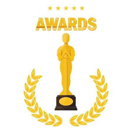 Statuette Award Festival Oscar with laurel branch. Movie Theater, Cinematic Award, Movie Premiere. Flat vector cartoon illustration. Objects isolated on a white background.  イラスト・ベクター素材