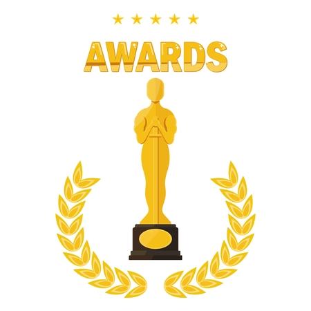 月桂樹枝像賞祭オスカー。映画館、映画賞を受賞、映画の試写会。フラット ベクトル漫画イラスト。オブジェクトを白い背景に分離します。  イラスト・ベクター素材