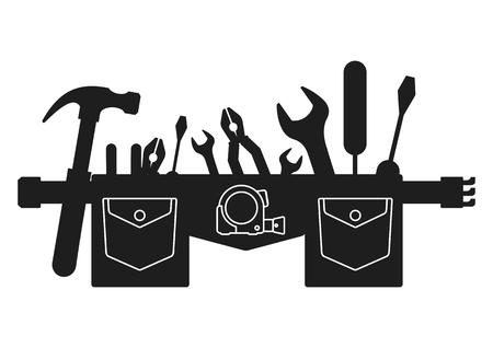 Silhouet van gereedschapsgordel. Vlakke vector cartoon illustratie. Voorwerpen geïsoleerd op een witte achtergrond.