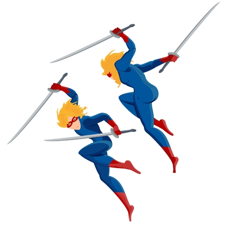 keep in: Warrior blond superhero in a blue suit jumping attacks. Keep hands katana sword. Fighting Kung Fu. Flat vector cartoon illustration. Objects isolated on a white background.
