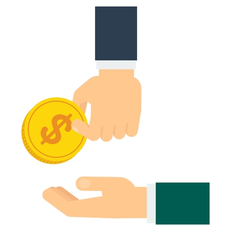 Hand donate money. Charity, helping the needy and disadvantaged people. Empathy, understanding and mutual support. Flat vector cartoon illustration. Objects isolated on a white background.