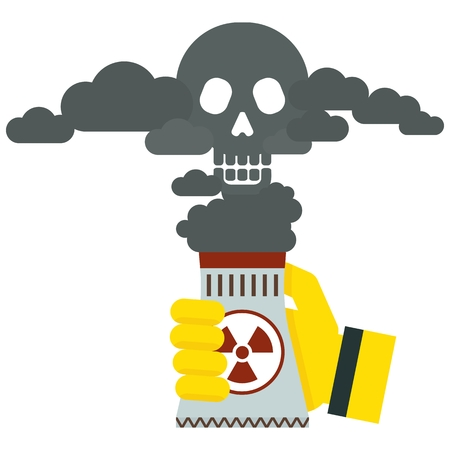 Hand in protective glove holding thermal power plant. Air and environmental pollution, harmful emissions into atmosphere. Flat vector cartoon illustration. Objects isolated on a white background.