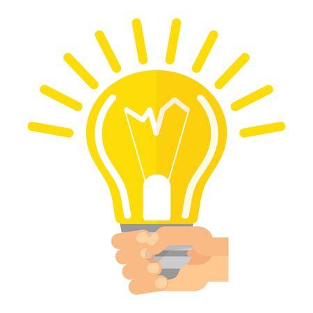 Modern idea innovation light bulb infographic concept. Conceptual web illustration of businessman hand holding lamp. Business strategy planning objects. Flat vector cartoon illustration. Illustration