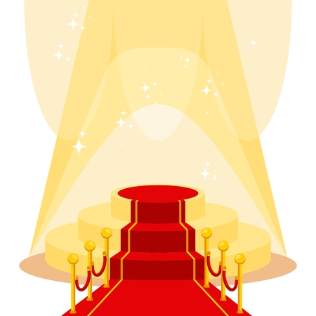 Red carpet for holiday greeting ceremonies. Award, honoring the winners, famous people, celebrities. Flat vector cartoon carpet illustration. Objects isolated on a white background. Illustration