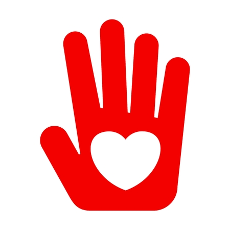 Icon flat red hand with heart. Heart on palm. Symbol of love, safety concerns. Template for Valentine Day, Christmas, medicine and philanthropy. Vector illustration. Objects isolated on background. Illustration