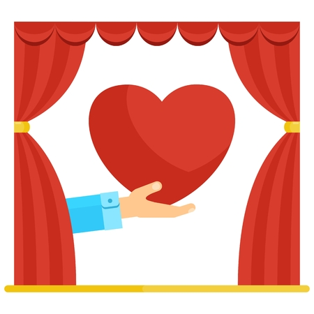 fourteen: Hand shows heart in theater red curtains. Symbol of passionate feeling of love. Postcard valentines day, wedding and date. Flat vector cartoon illustration. Objects isolated on a white background.