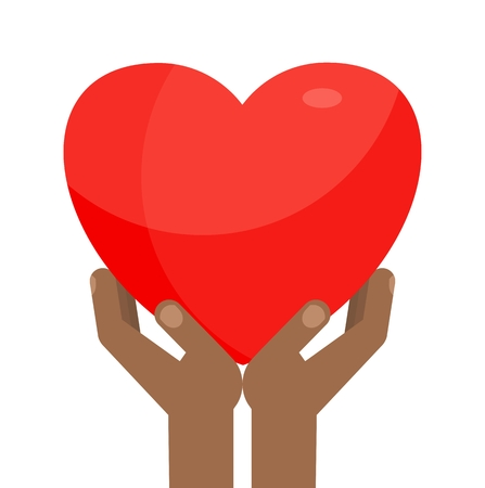 kindness: Afro-American Hands holding big red heart. Symbol of love and kindness, care and attention. Medicine and volunteering. Flat vector cartoon illustration. Objects isolated on white background. Illustration