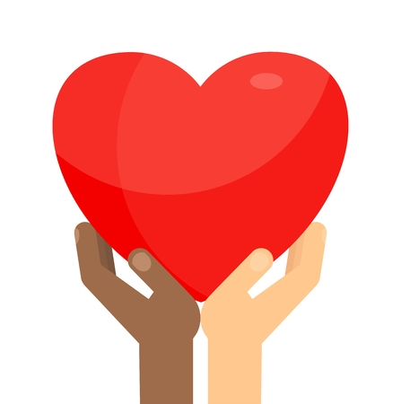 Afro-American and white Hands holding big red heart. Symbol of love and kindness, care and attention. Medicine and volunteering. Flat vector cartoon illustration. Objects isolated on white background.