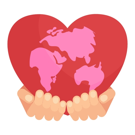 Heart of planet earth. Icon for postcards, greetings, Valentines Day. Flat vector cartoon illustration. Objects isolated on a white background. Illustration