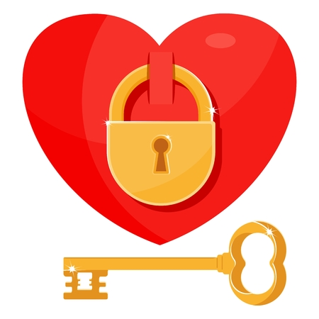Heart as the key to the lock. Sincere feelings, love. Icon for postcards, greetings, Valentines Day. Flat vector cartoon illustration. Objects isolated on a white background.