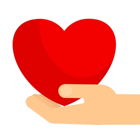 Hands Holding Big Red Heart Symbol Of Love And Kindness Care