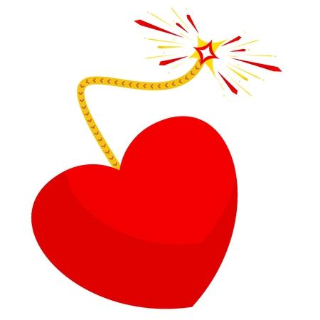 心が大好きです。爆弾のような愛の心。感情の爆発、感情の流れ。はがき、挨拶、バレンタインの日のアイコン。フラット ベクトル漫画イラスト。オブジェクトを白い背景に分離します。