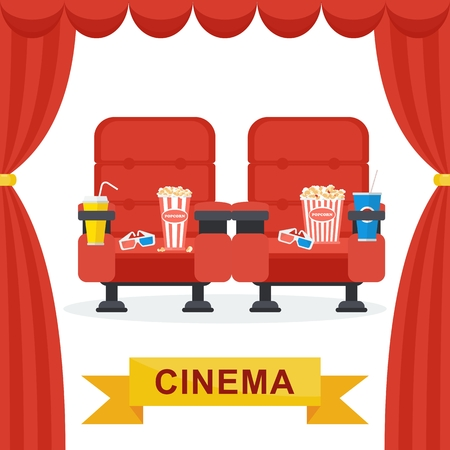 Cinema hall with red curtains. Soft seats for spectators, snacks, beverages, popcorn. Flat vector cartoon illustration. Objects isolated on a white background.
