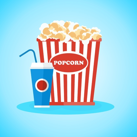 Pop corn in red box. Flat vector cartoon illustration. Objects isolated on a white background.
