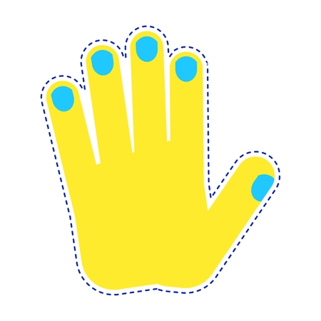 Bright patch hand palm gestures icon. Sign of body language and touch gestures. Flat vector cartoon illustration. Objects isolated on a white background.