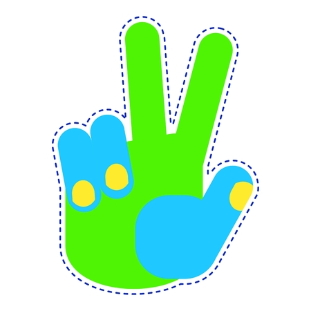 Bright patch hand victory gestures icon. Sign of body language and touch gestures. Flat vector cartoon illustration. Objects isolated on a white background.